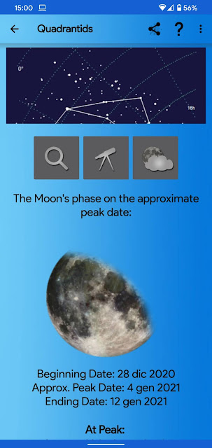 Meteor Shower Calendar, an app the ebook Space Apps for Android covers in chapter Meteors
