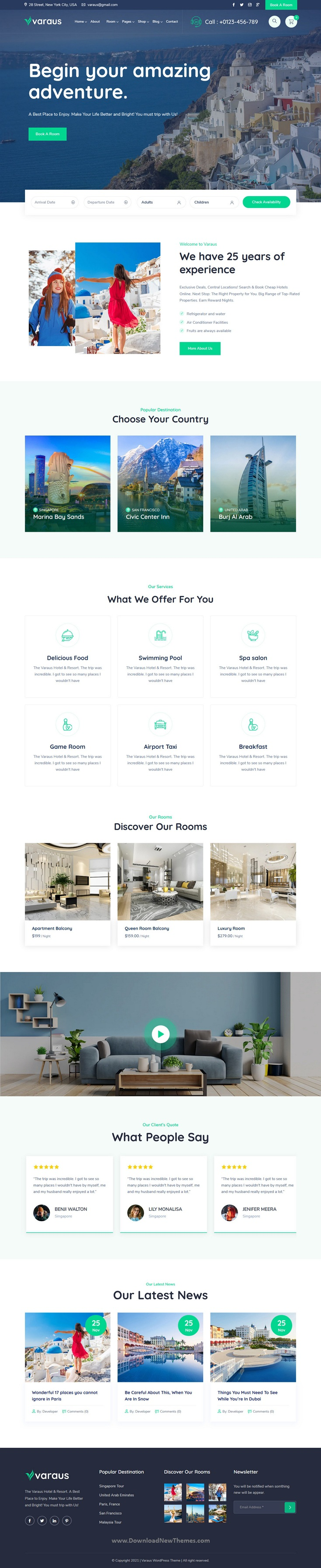 Hotel Booking Responsive Website Theme