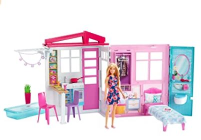 Barbie Doll & Doll house, Portable 1-Story Playset with Pool & Accessories