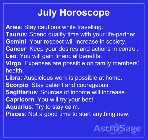 July horoscope 2015 has come to tell you everything about future.