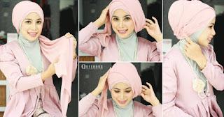 Cara memakai hijab turban simpel