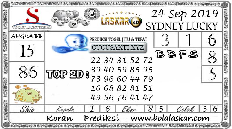 Prediksi Sydney Lucky Today LASKAR4D 24 SEPTEMBER 2019