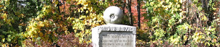 """Granite plinth topped with carved apple. The visible part of the inscription reads, """"This monument marks the site of the first Baldwin apple tree."""""""