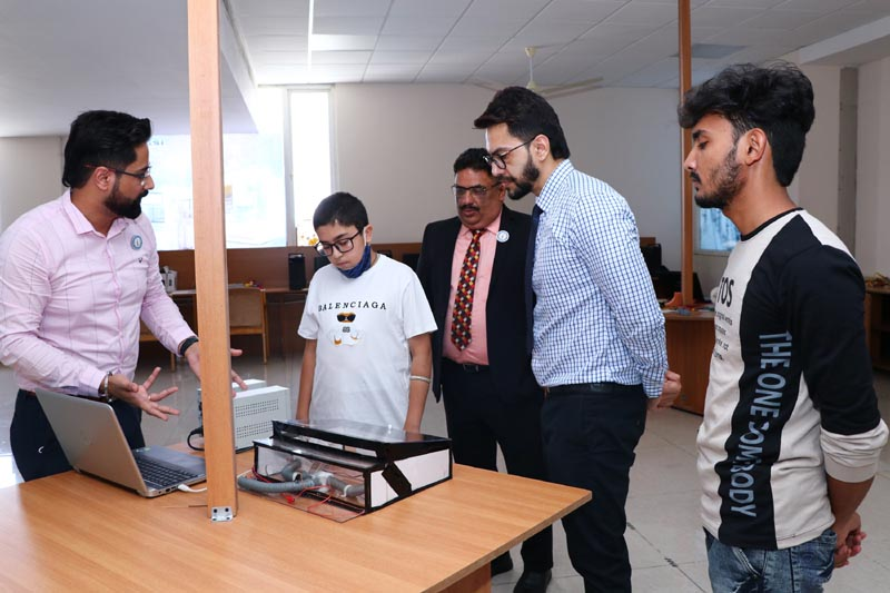 CT Group Managing Director Manbir Singh, CT University Vice Chancellor Dr. Harsh Sadawarti along with CT Public School student Parth Verma who developed 'Vehicle Ventilation Regulation device'