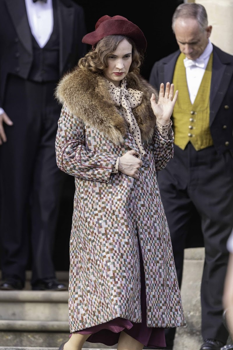 Lily James Clicked on the Set of The Persuit of Love in Bath 15 Sep- 2020