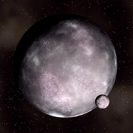 Еріда та її супутник Дизномія (художнє зображення NASA)