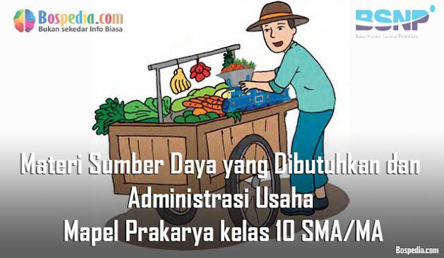 Materi Sumber Daya yang Dibutuhkan dan Administrasi Usaha Mapel Prakarya kelas 10 SMA/MA