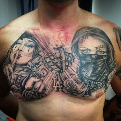 Gangster Chest Tattoo for men