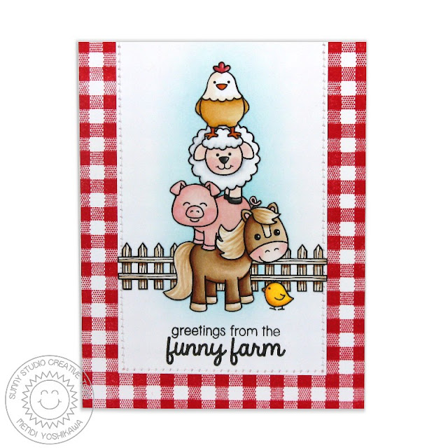 Sunny Studio Stamps: Barnyard Buddies Greetings From The Funny Farm Horse, Pig, Sheep & Chicken Card by Mendi Yoshikawa