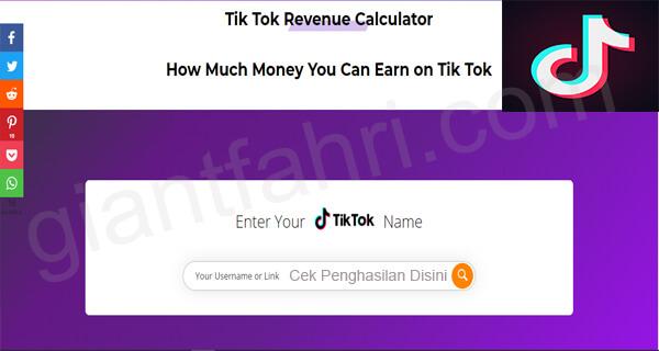 Cara Menggunakan TikTok Money Calculator Terbaru 2020