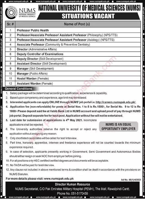 New Jobs in Pakistan NUMS University Rawalpindi Jobs 2021 | Apply Online