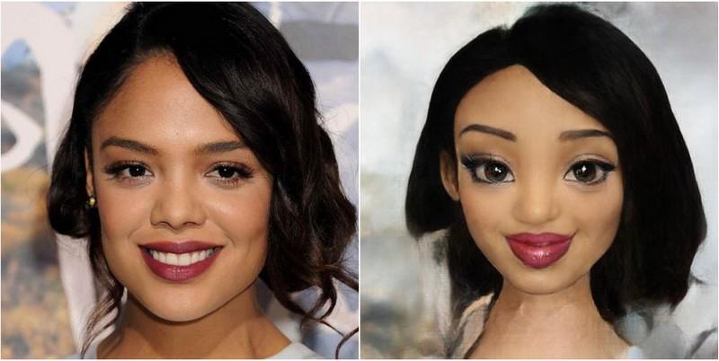 Tessa Thompson Transform into Disney characters using neural networks
