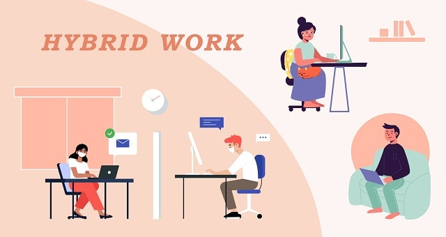 implementing hybrid work model home remote working combined office