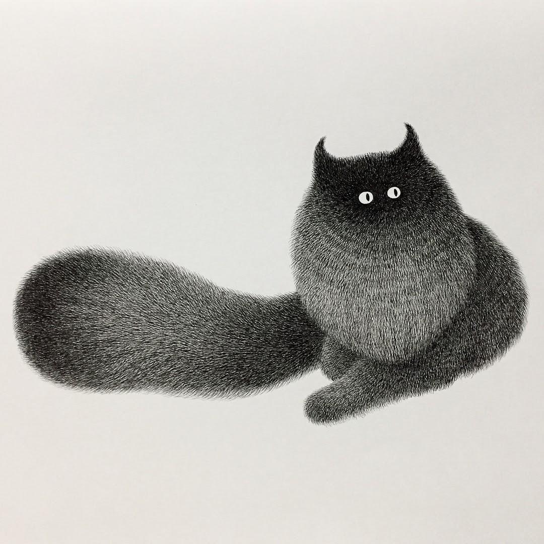 10-Kitty-No-22-Kamwei-Fong-14-Furry-Cats-and-1-Furry-Monkey-Drawings-www-designstack-co