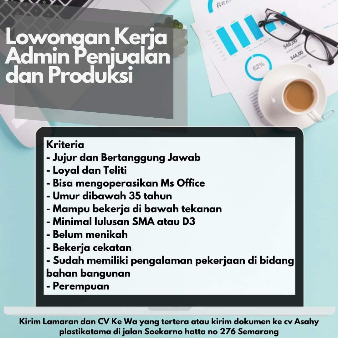 Info lowongan kerja Semarang hari ini Desember 2020 terbaru, Admin Penjualan dan Produksi