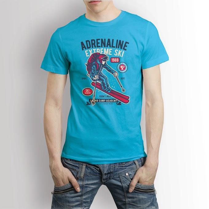 Adrenaline Extreme Ski T shirt Design