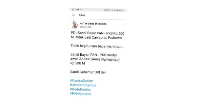 @ratu_adil: Yang Benar, Sandi Bayar PAN-PKS Rp 500 M untuk Jadi Gubernur