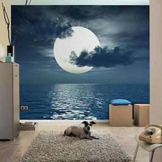 Gambar pemandangan pada dinding 3 dimensi unik