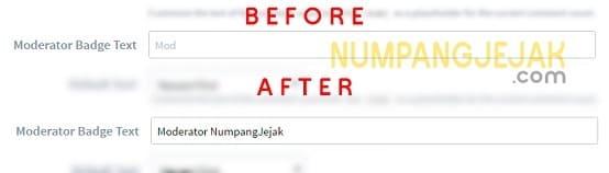 Cara mengganti tulisan MOD Logo admin Disqus