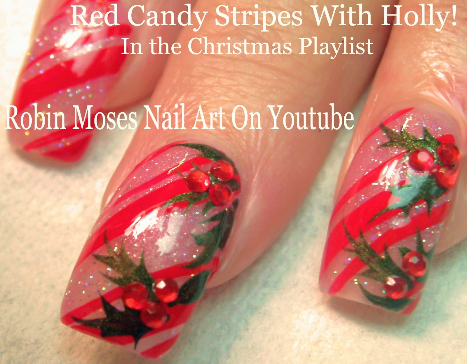 Nail Art By Robin Moses Yes Christmas Candy Cane Stripe Nail Art