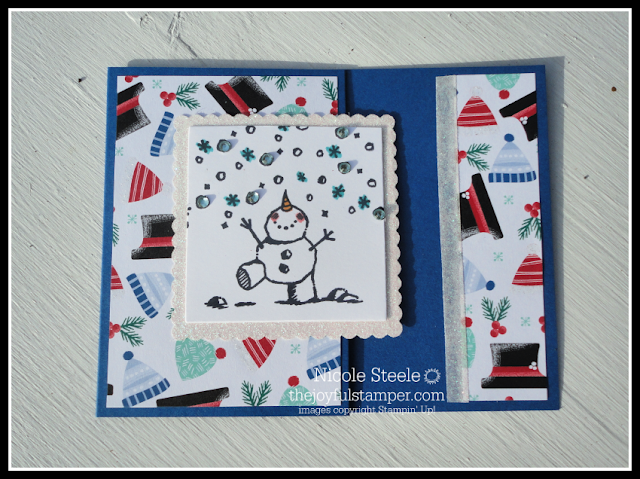a2 sized pocket gift card holder with Stampin' Up!'s Snowman Season stamp set and Let It Snow designer series paper