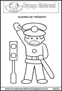 Desenho guarda de trânsito para colorir