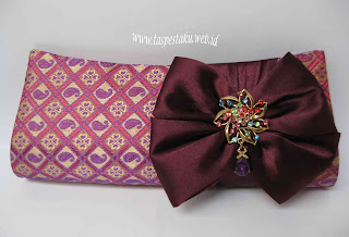 Tas Pesta Clutch Bag Sari India SOngket Ungu