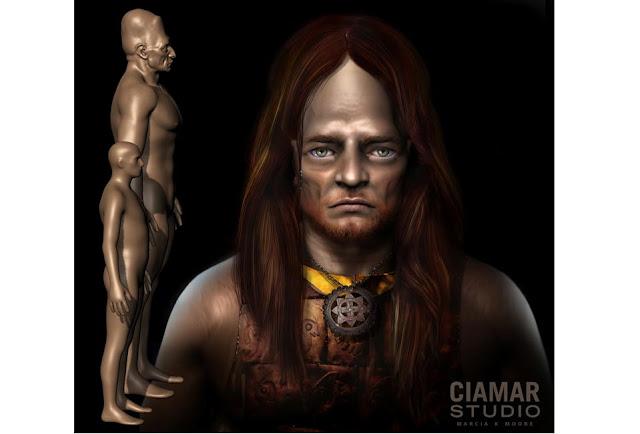 Scultura digitale 3d di gigante con capelli, corazza di rame e gorgiera.