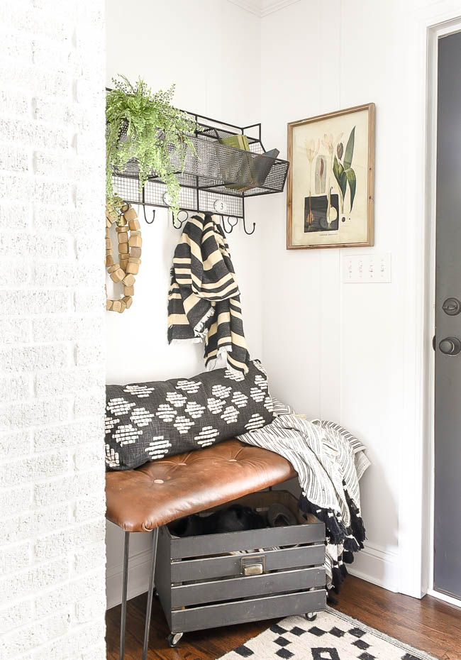 Vintage Modern high contrast mudroom makeover