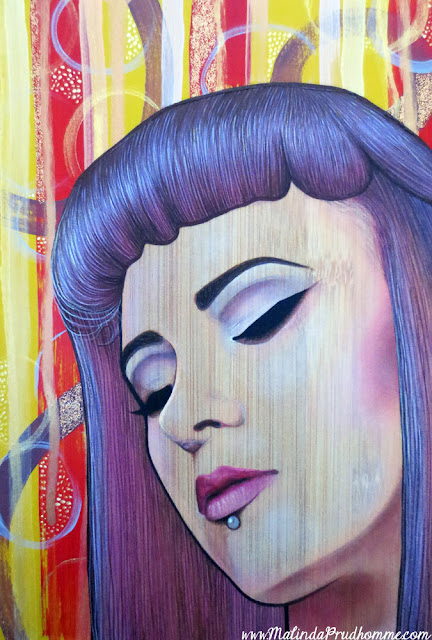 restless mind, beautiful spirit, portrait, portrait painting, beauty art, purple hair, closed eyes, canadian portrait artist, toronto portrait artist, abstract art portrait, realism, bamboo painting