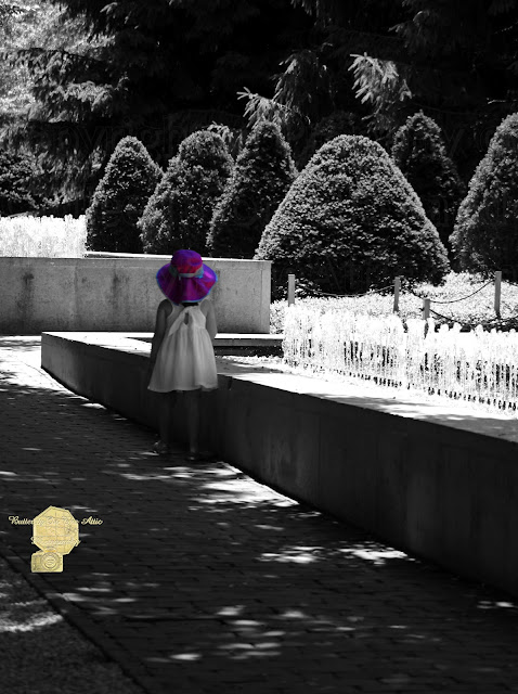 Little Girl in Magenta Hat Black and White Selective Color Photograph