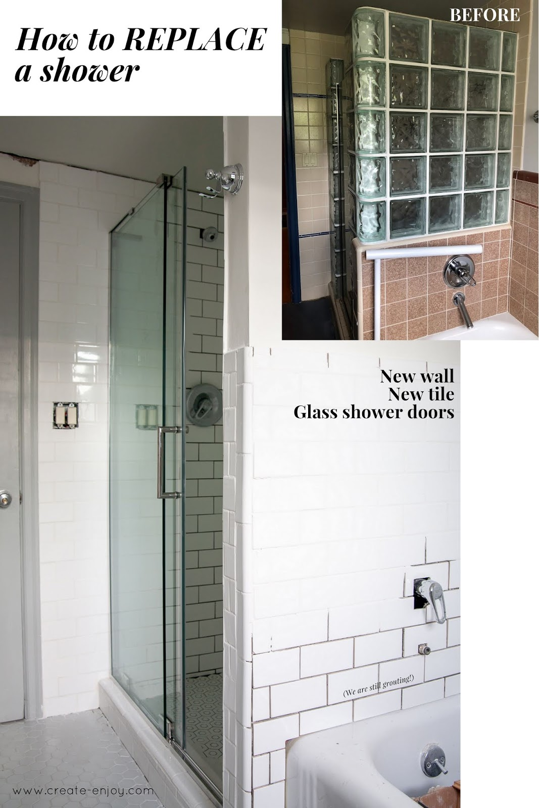 replace a shower tile and shower door