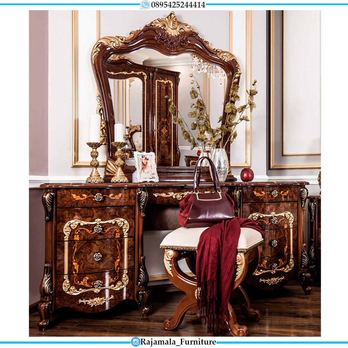 Model Meja Rias Jati Perhutani Mewah Luxury Marquetry Veneer Style RM-0548