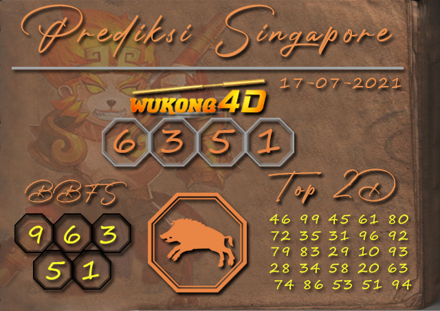PREDIKSI TOGEL SINGAPORE WUKONG4D 17 JULI 2021