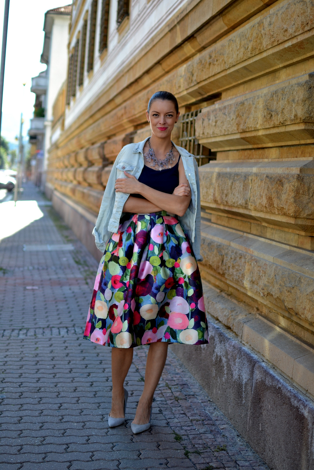 floral midi skirt and dark blue top