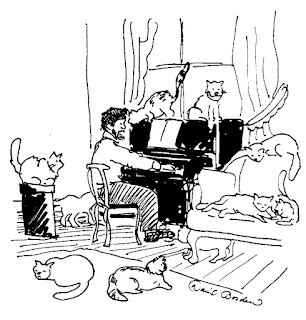 sketch of Claude De Bussy playing the piano surrounded by cats (c) 2015 by David Borden
