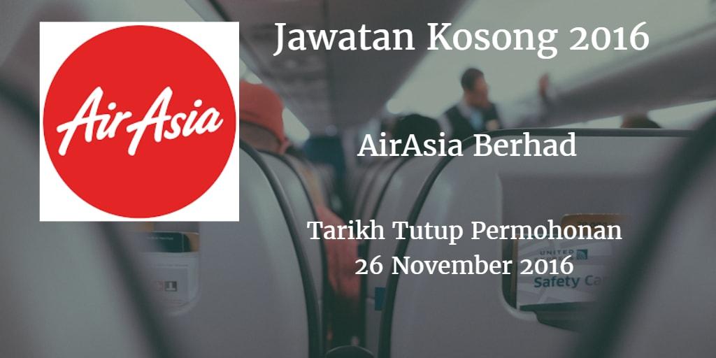 Jawatan Kosong AirAsia Berhad 26 November 2016