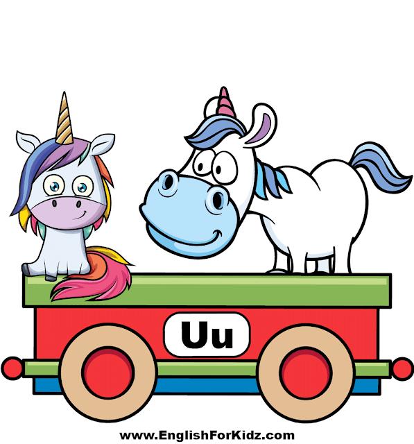 Letter U is for unicorn - ABC train classroom decoration