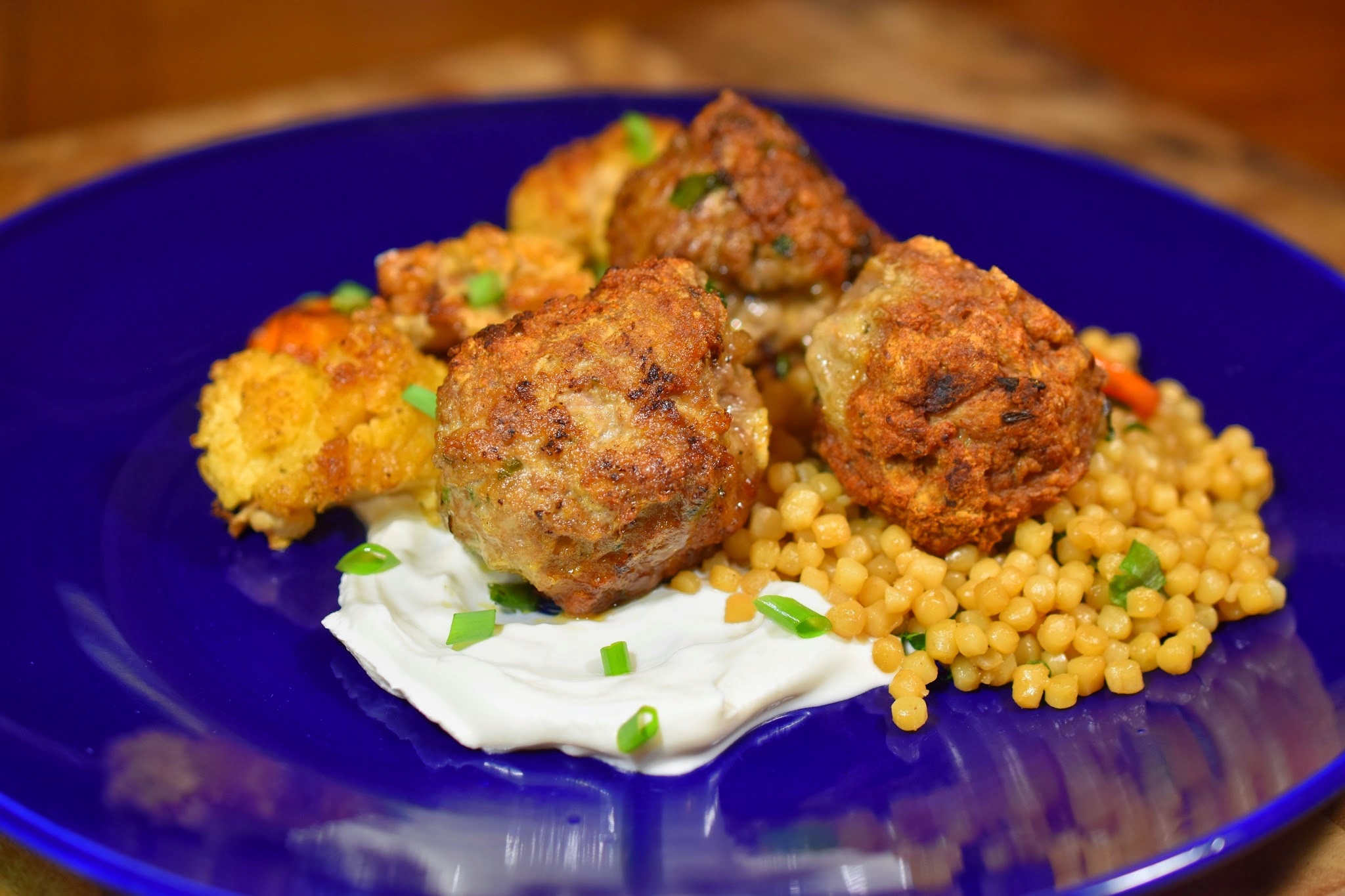 Herby Lamb Meatballs with Israeli Couscous and Za'atar Spiced Root Vegetables