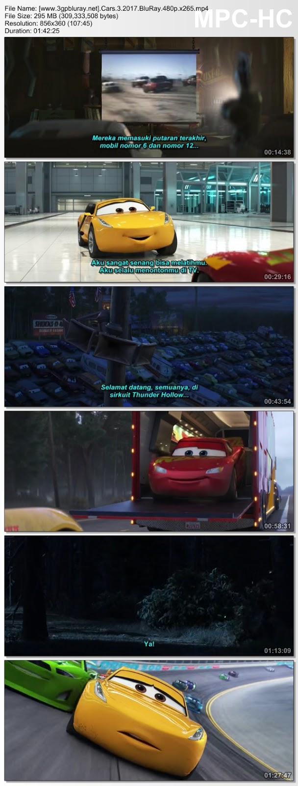 Screenshots Download Cars 3 (2017) BluRay 480p & 3GP Subtitle Indonesia