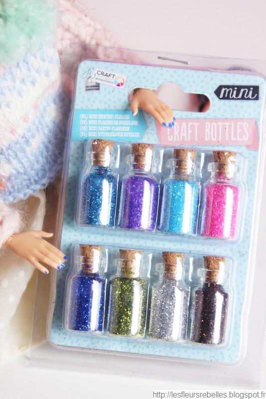 Flacons miniatures en verre avec bouchon en liège et paillettes