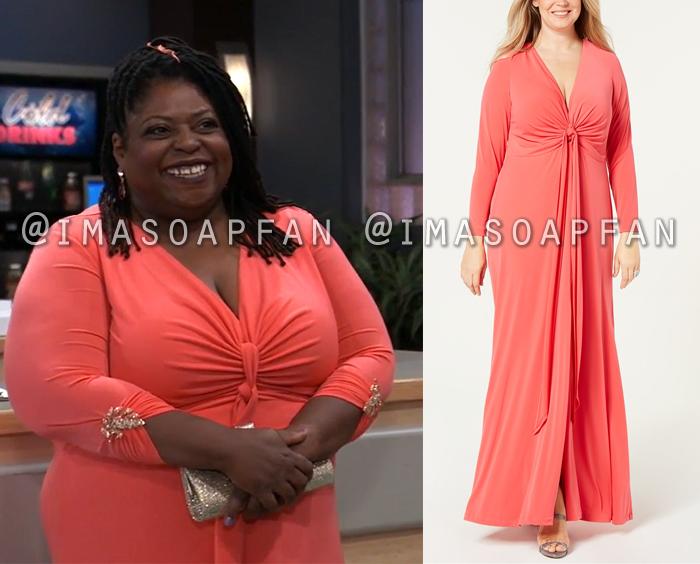 Epiphany Johnson, Sonya Eddy, Pink Twist-Front Gown, Dress, Nurses Ball, General Hospital, GH