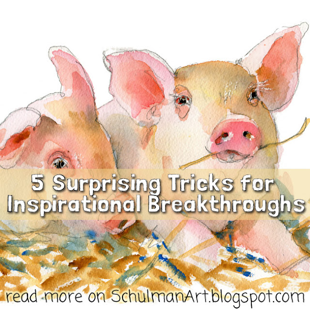 watercolor | animal art | pig art | farm animals | farm | watercolor class | online class | free watercolor class | free art class | online training | read more → http://schulmanart.blogspot.com/2016/06/5-surprising-tricks-for-inspirational.html
