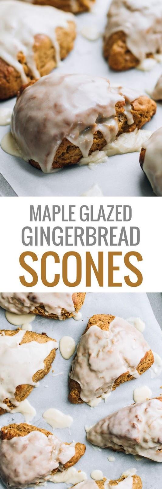 Maple Glazed Gingerbread Scones #chrismast #gingerbread #snack #slidedish #dessert #winter