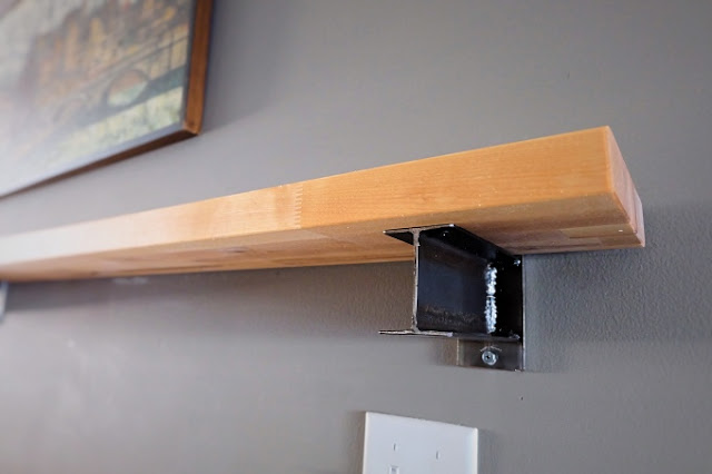 butcher block shelf steel ibeam bracket