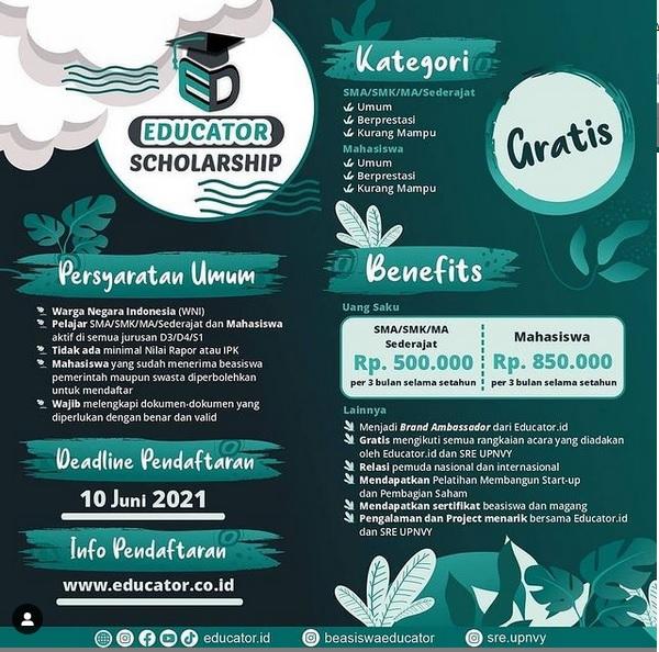 Beasiswa Educator Bago Siswa SMA Sederajat dan Mahasiswa, Deadline 10 Juni 2021