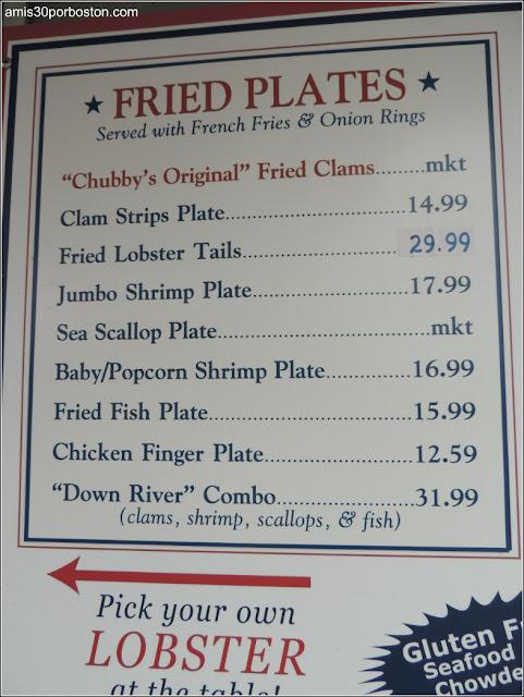 Lobster Shacks en Massachusetts: Menú del Woodman's of Essex