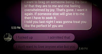 Screenshot of text between Josh and Vicky where he claims to not want to love anyone else but her