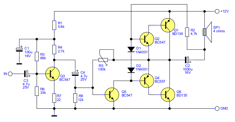 2 5W Audio Amplifier with Transistors · One Transistor