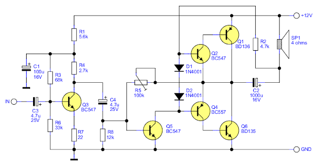 2.5 W audio amplifier with transistors schematic circuit